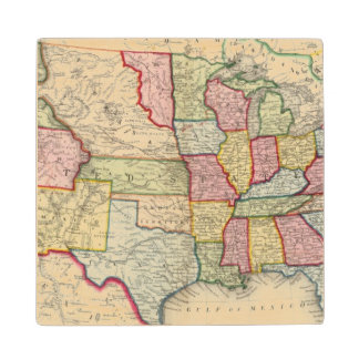 Map Of The United States, And Territories Wood Coaster
