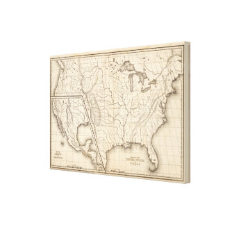 Map of the United States and Texas Canvas Print