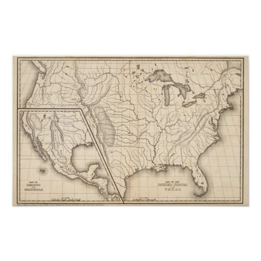 Map of the United States and Texas Poster