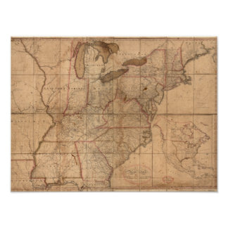 Map of the United States By Abraham Bradley Junior Poster