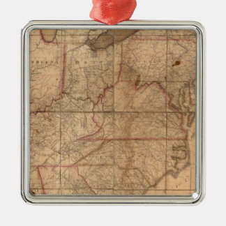 Map of the United States By Abraham Bradley Junior Silver-Colored Square Decoration
