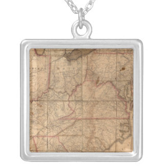 Map of the United States By Abraham Bradley Junior Silver Plated Necklace