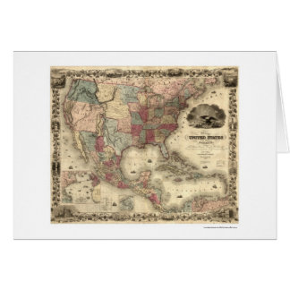 Map of the United States by Colton 1850 Greeting Card