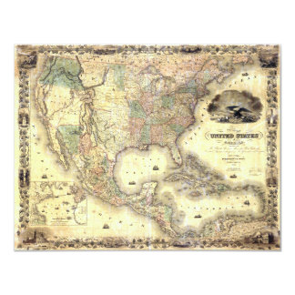 Map of the United States by J.H. Colton (1849) 11 Cm X 14 Cm Invitation Card