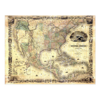 Map of the United States by J.H. Colton (1849) Postcard