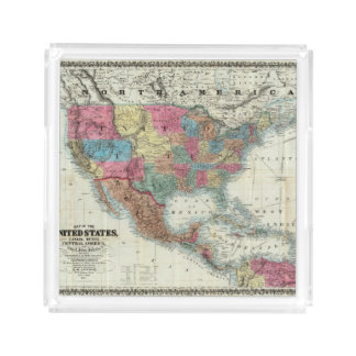Map Of The United States, Canada, Mexico Acrylic Tray
