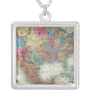 Map Of The United States, Canada, Mexico Silver Plated Necklace