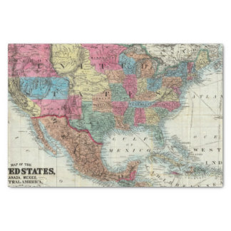 Map Of The United States, Canada, Mexico Tissue Paper