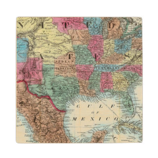 Map Of The United States, Canada, Mexico Wood Coaster