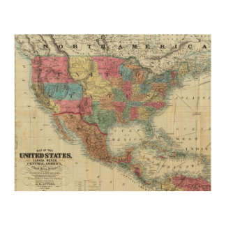 Map Of The United States, Canada, Mexico Wood Print