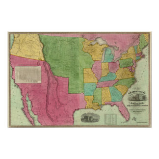 Map Of The United States Of America 1833 Poster