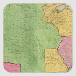 Map Of The United States Of America 1833 Square Sticker
