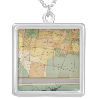 Map of the United States of America 2 Silver Plated Necklace