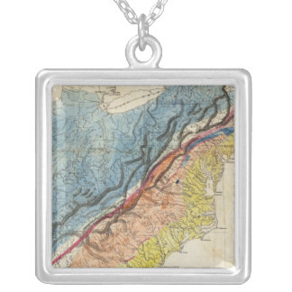 Map of the United States of America 3 Silver Plated Necklace