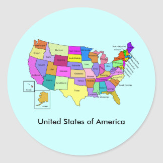 Map of the United States of America Classic Round Sticker