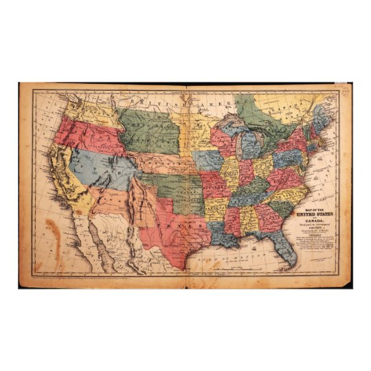 Map of the United States of America in 1853 Photo Print