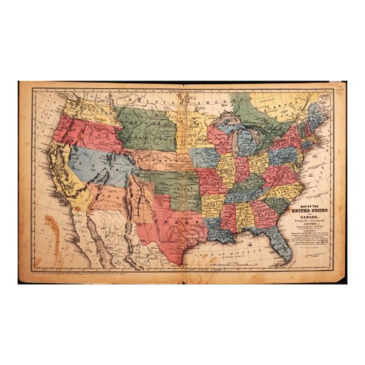 Map of the United States of America in 1853 Photographic Print