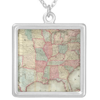 Map Of The United States Of America Silver Plated Necklace