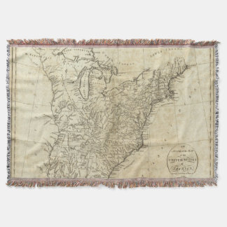 Map of the United States of America Throw Blanket
