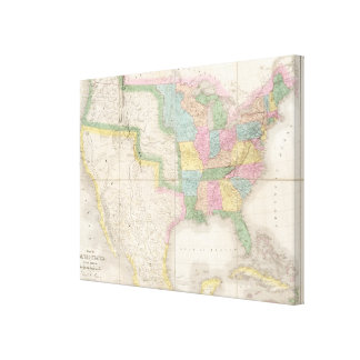 Map of the United States Of North America Canvas Print