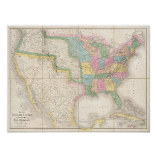 Map of the United States Of North America Poster