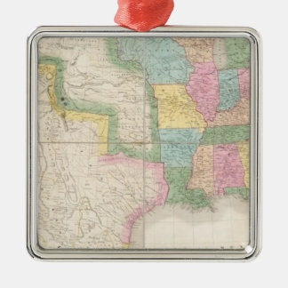 Map of the United States Of North America Silver-Colored Square Decoration