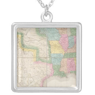Map of the United States Of North America Silver Plated Necklace
