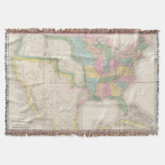Map of the United States Of North America Throw Blanket