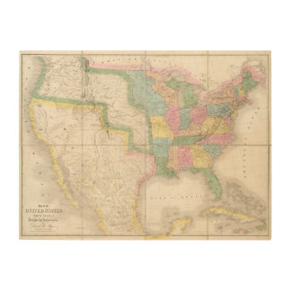Map of the United States Of North America Wood Wall Art