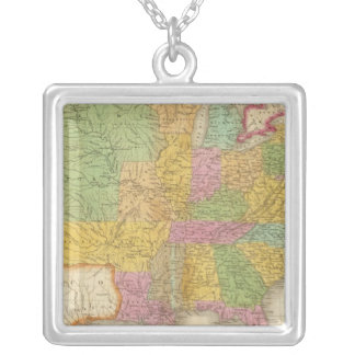 Map of The United States Silver Plated Necklace