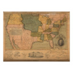 Map of The United States with George Washington Posters