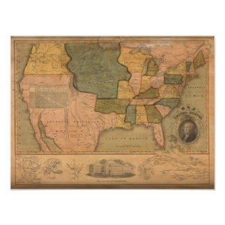 Map of The United States with George Washington Poster