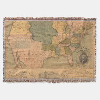 Map of The United States with George Washington Throw Blanket