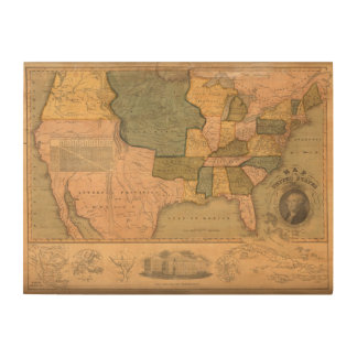 Map of The United States with George Washington Wood Wall Decor