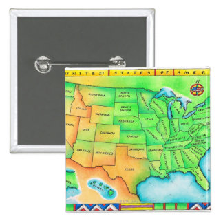 Map of the USA 15 Cm Square Badge