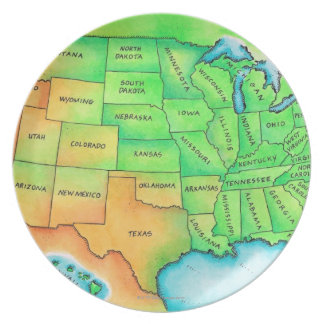 Map of the USA Dinner Plate