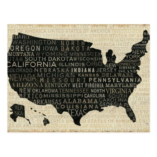Map of the USA Postcard
