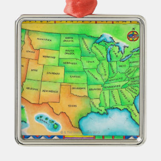 Map of the USA Silver-Colored Square Decoration