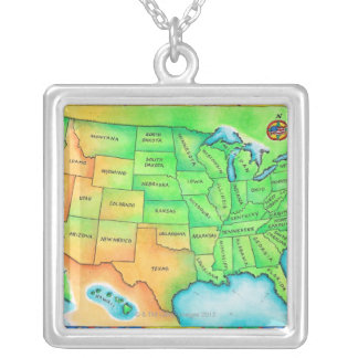 Map of the USA Silver Plated Necklace