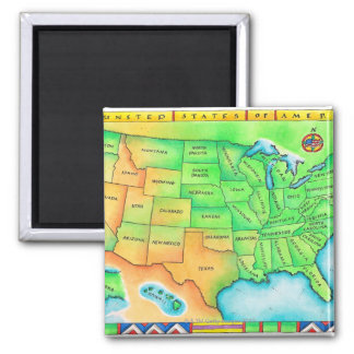 Map of the USA Square Magnet