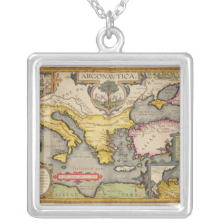 Map of the Voyage of the Argonauts Silver Plated Necklace