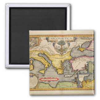 Map of the Voyage of the Argonauts Square Magnet