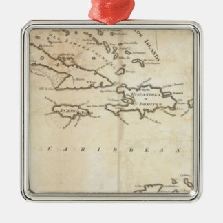 Map of the West Indies 2 Silver-Colored Square Decoration