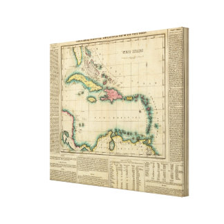 Map Of The West Indies Canvas Print