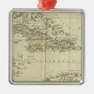 Map of the West Indies Silver-Colored Square Decoration