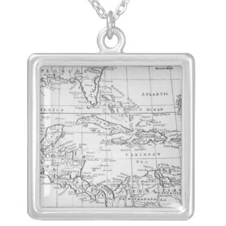 Map of the West Indies Silver Plated Necklace