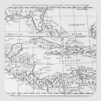Map of the West Indies Square Sticker