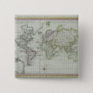 Map of the World 11 15 Cm Square Badge