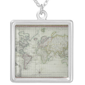 Map of the World 11 Silver Plated Necklace