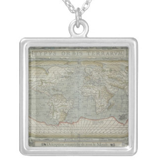 Map of the World 12 Silver Plated Necklace